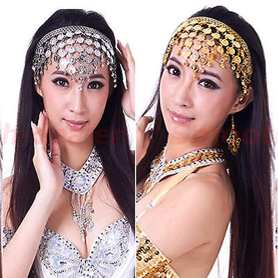 Women Belly Dance Accessories Costume Dancing Coin Sequins Hair Band Headbands