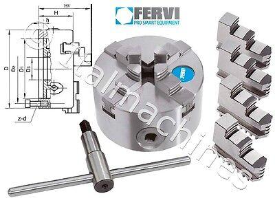 Mandrino autocentrante FERVI M449/160 tornio Ø 160 mm 4 + 4 griffe + chiave