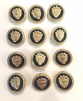 Vintage Navy Enamel Gold Buttons For Suit/blazer/coats Metal Shank-12 -new