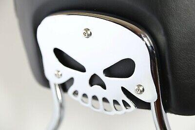 Chrome Sissy Bar Backrest Pad Mount Kit w// Skull Plate For /'09-/'17 Harley Tourin