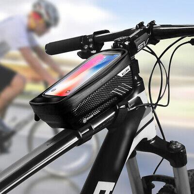 Waterproof Bike Bag Bicycle Top Tube Front Frame Phone Holder Case Cycling Black