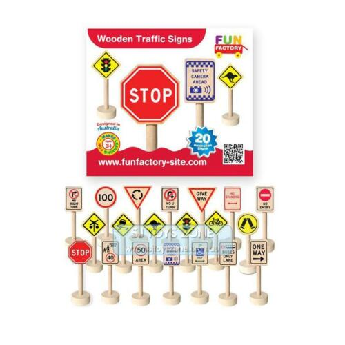 Wooden Early Learning Australian Theme 20 Traffic Signs Teaching Toy