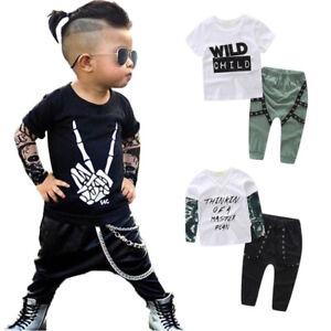 Toddler Kids Baby Boys Outfits Clothes Layered T-shirt Tops Coat+Pants 2PCS Set