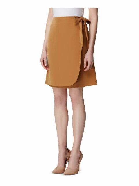 TAHARI Womens Brown Above The Knee Wrap Skirt Size: 16