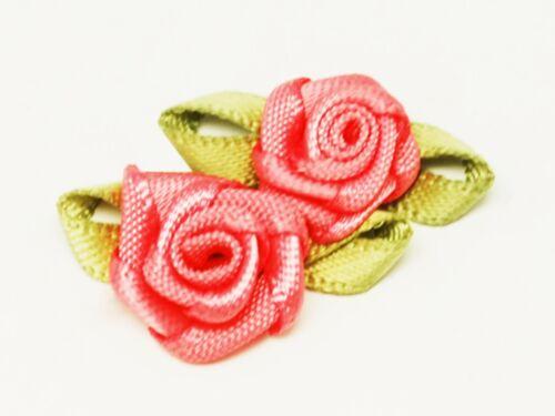 10 Satinblümchen 11mm Verziehrung Blumen zum Aufnähen