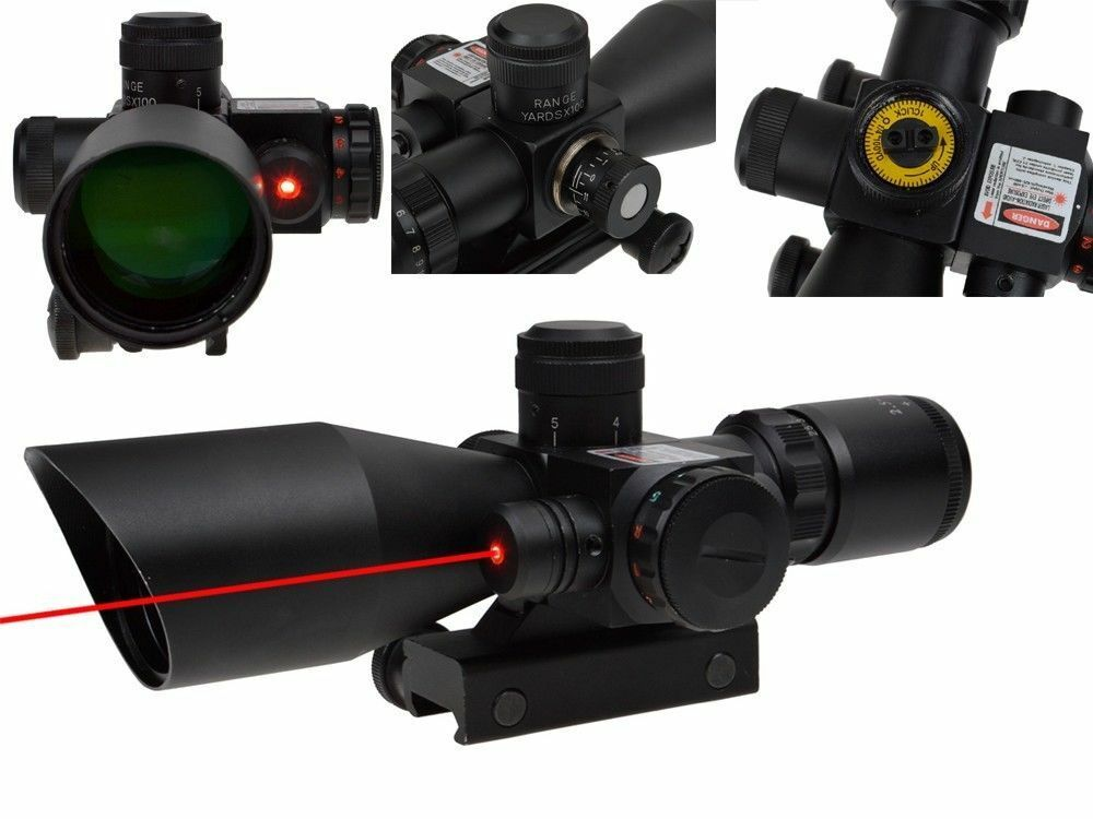 Rifle Scope 2.5-10x40 Reticle Red Green Dot Mil-dot Dual With Red