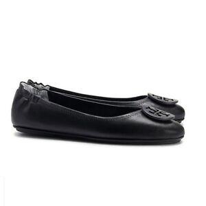 7a178484b53d0 B-127 TORY BURCH  Minnie  Travel Ballet Flat Black Leather Sz 6 M