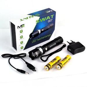 SWAT-007-LED-Taschenlampe-ZOOM-2-x-M2-TEC-18650-Li-ion-Akku-Ladekabel-POLICE