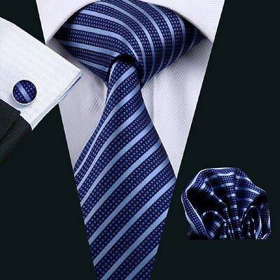New Men's Silk Necktie Classic Blue Strip Tie+Hanky+Cufflinks Set C-337