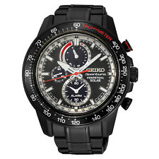 New Seiko SSC373 Sportura Solar Chronograph Black IP Stainless Steel Men's Watch