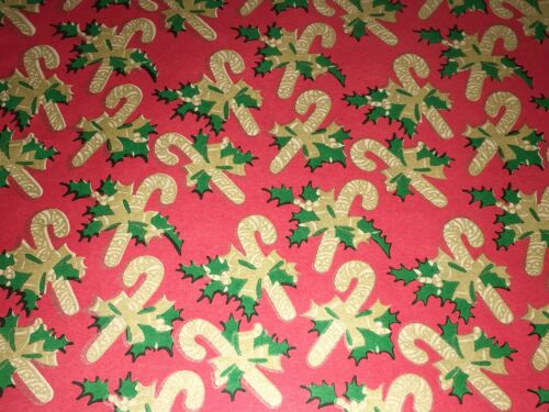 VTG CHRISTMAS WRAPPING PAPER GIFT WRAP CANDY CANE HOLLY RED GREEN GOLD NOS