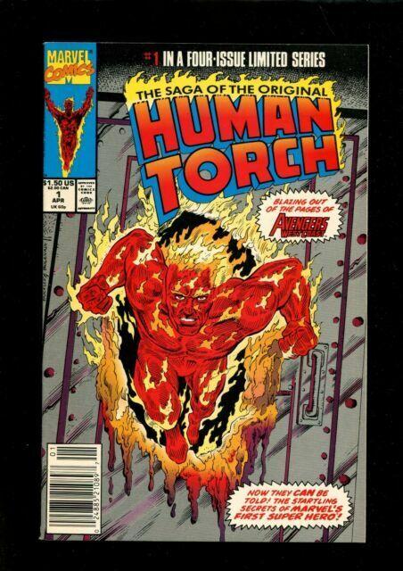 Saga of the Original Human Torch 1990 series # 1 UPC code near mint comic book