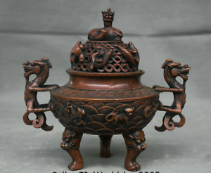 8-8-034-Marked-Old-China-Qing-Red-Copper-Dynasty-Dragon-Beast-Incense-Burner-Censer