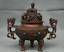 8-8-034-Marked-Old-China-Qing-Red-Copper-Dynasty-Dragon-Beast-Incense-Burner-Censer thumbnail 1