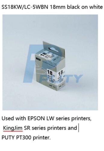 "SS18KW Replaces 18mm Epson LK5WBN  Black White Tape KingJim  Puty 3//4/"""