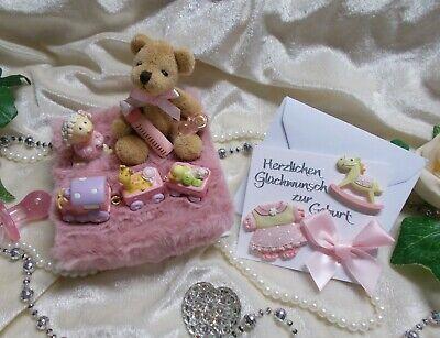 """Geschenkbox BABY /""""ZUR GEBURT/"""" Mädchen Schaukelpferd mit Teddy Creme Rosa NEUHEIT"""
