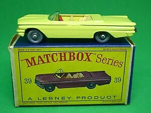 Matchbox-Lesney-No-39b-Pontiac-convertible-en-Caja-039-D2-039-mas-raro-ruedas-de-Plata