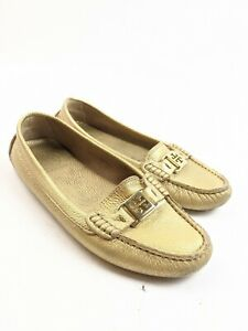 Tory Burch Metallic Gold Leather Gold Logo Loafers Driving ...
