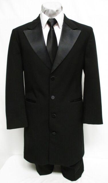 40 L Mens Black Long Peak Tuxedo Jacket Frock Coat Victorian Steampunk Halloween