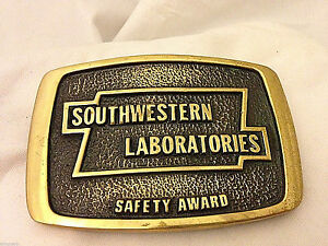 Southwestern-Labs-Safety-Award-Solid-Brass-Vintage-Belt-Buckle-Free-shipping