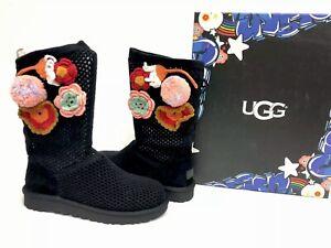 cbb0bde54a1 Details about UGG Australia Crochet Classic Fashion Baby Crochet Floral  Boots Black 1095270