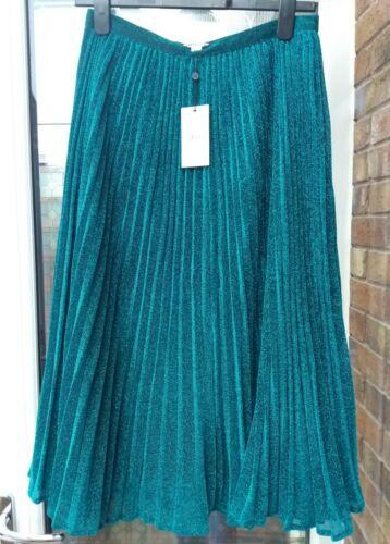 BNWT Whistles Green Sparkle Pleated Midi Skirt UK8 10 12 rrp£139