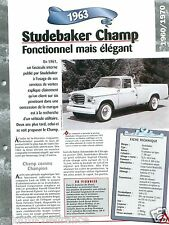 Studebaker Champ Pick-Up/Camper 6 Cyl. 1963 USA Car Auto Retro FICHE FRANCE
