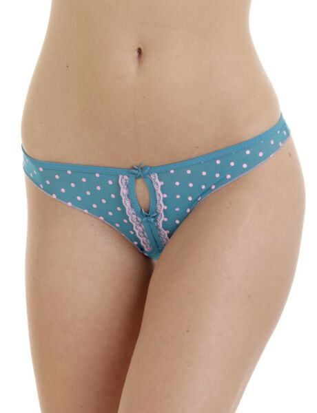Sexy Damen Strings 6er Pack Punkte mit Spitze Freesize Tanga Points 32-36