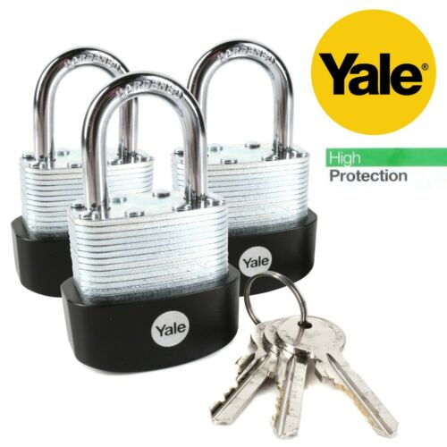 3Pc YALE LAMINATED PADLOCK SET Hardened Steel Weatherproof Outdoor High Security