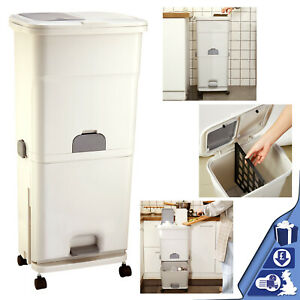40l kitchen bathroom 3 compartment recycling waste bin