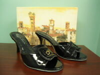 Womens Size 6.5 Vicenza Black Patent Diego Di Lucca Slip On High Heel Shoes