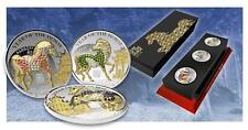 Rwanda 2014 3x 500 Francs Lunar Year HORSE PAVE 3D 3 Gilded Silver Coin Set