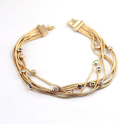 18K Rose Gold Plated Made With Swarovski Crystal Crossover Chains Bracelet
