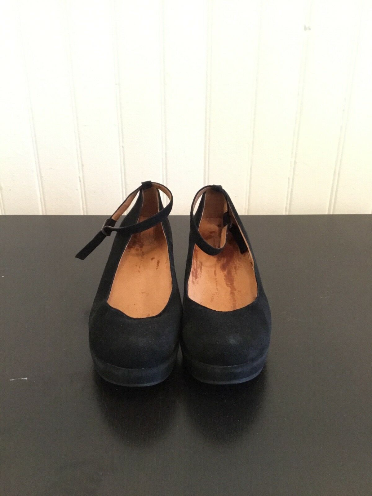 Juicy Couture Black Leather Suede Strappy Strappy Strappy Wedge Heels Size 9 9905a8