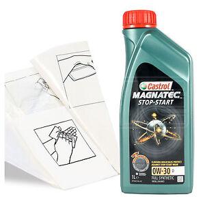 Engine-Oil-Top-Up-1-LITRE-Castrol-Magnatec-0w-30-D-1L-Gloves-Wipes-Funnel
