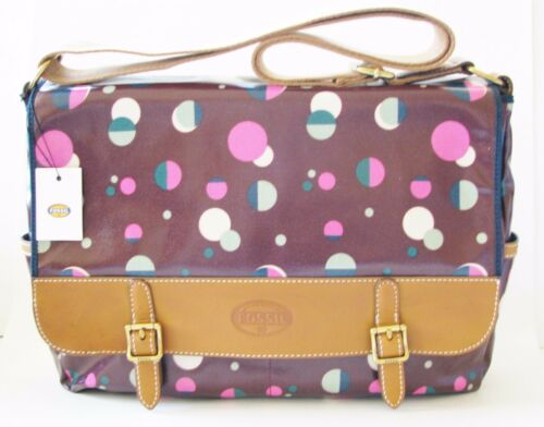 NEW FOSSIL KEYPER MESSENGER TOTAL ECLIPSE CANVAS PVC PURPLE LAPTOP+CROSSBODY BAG