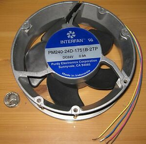 Large-Round-DC-Fan-24V-172mm-Dia-Over-200-CFM-3000-RPM-Ball-Bearing