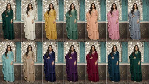 Designer Indian Anarkali Suit Salwar Blue Pakistani straight Shalwar kameez Sc M