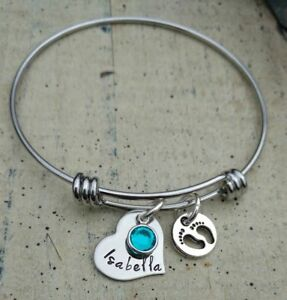 Image Is Loading Mother Baby Name Charm Bracelet New Mom Grandma