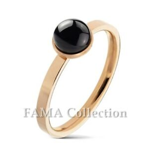 FAMA-Round-Black-Agate-Set-Rose-Gold-IP-Over-316L-Stainless-Steel-Ring-Size-5-9