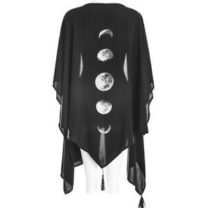 Medieval Women Hooded Poncho Velvet Cape Cloak Tops Gothic Witch Cosplay Costume