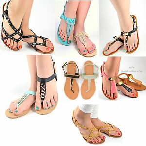 91e8ea833 Women's Sandals Flat Gladiator T Strap Thong Summer Casual Sandal ...