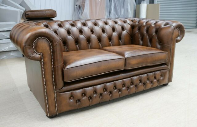Awesome Chesterfield Tufted Buttoned 2 Seater Sofa Couch Real Vintage Tan Leather Dbb Dailytribune Chair Design For Home Dailytribuneorg