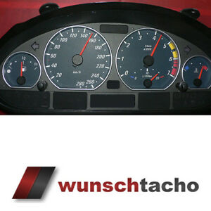 Tachoscheibe-fuer-Tacho-BMW-E46-Benziner-Black-Power-280-kmh