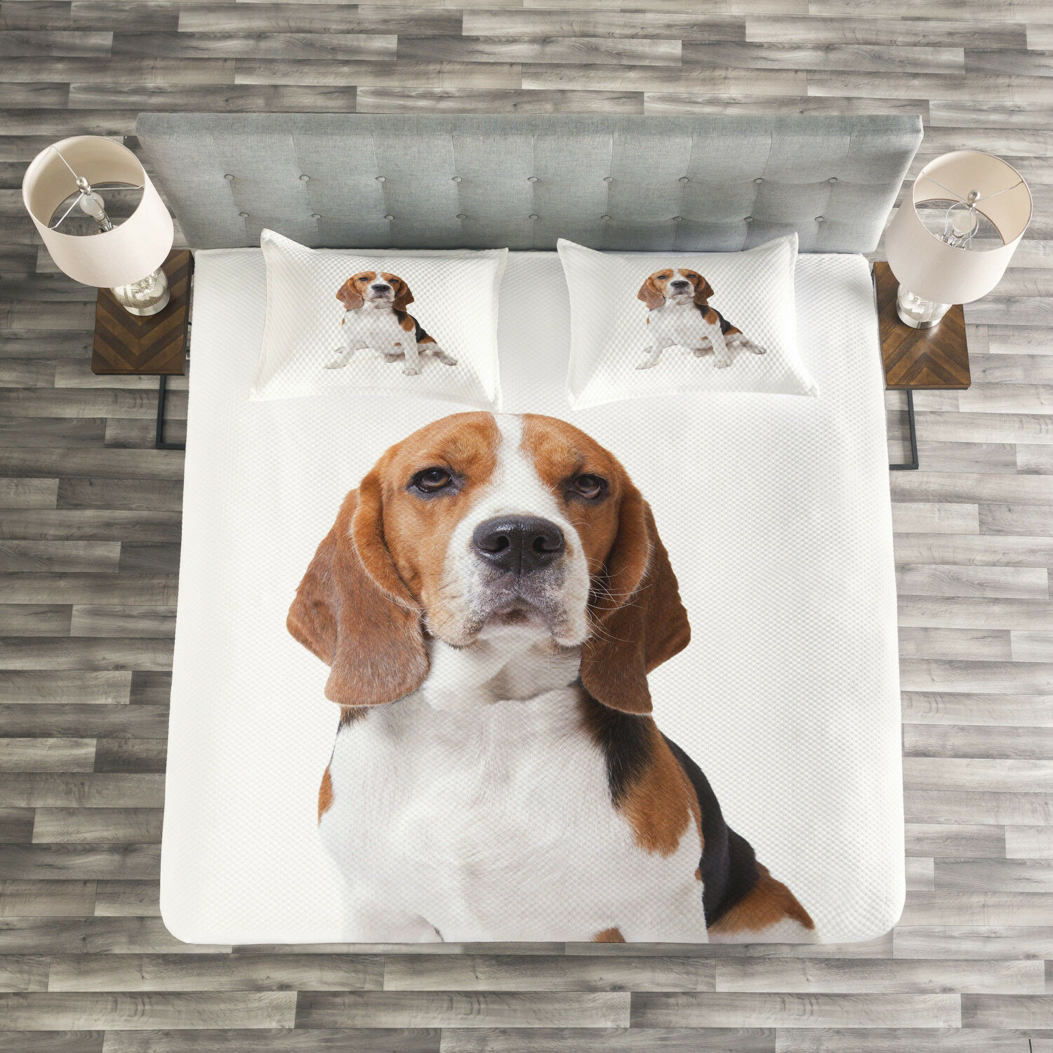 Beagle Quilted Bedspread & Pillow Shams Set, Puppy Dog Friend Posing Print