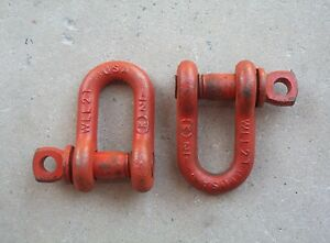 LOT-of-2-Midland-2-Ton-1-2-034-Clevis-Shackle-w-Screw-Pin-FREE-SHIPPING