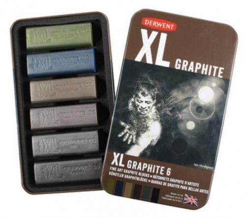 Chunky Fine Art Graphite Blocks Derwent XL Graphite Tin of 6 Shades