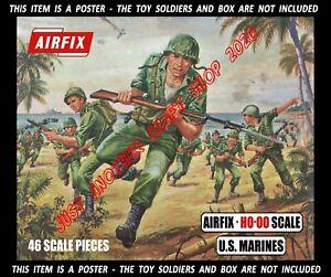 Airfix-Ho-OO-la-Segunda-Guerra-Mundial-Marines-gran-tamano-poster-anuncio-cartel-re-Blue-Box-obras