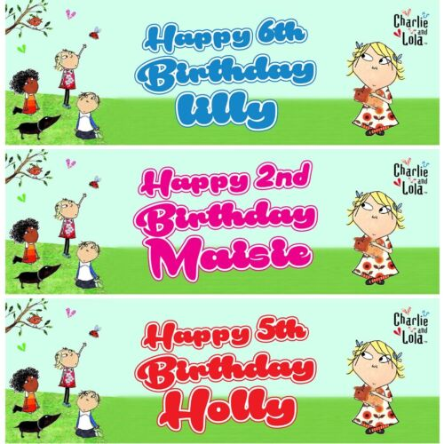 2 Personalised Charlie And Lola Birthday Celebration Banners Decoration Posters