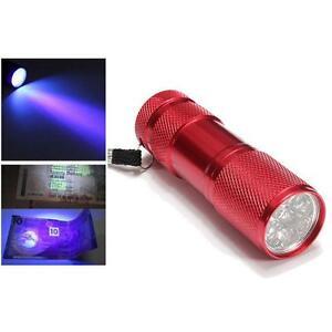 Aluminium-9-LED-UV-Flashlight-Torch-Ultra-Violet-purple-light-Detections-red-DG